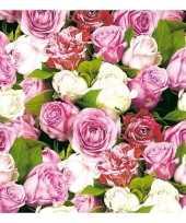 40x rozen bloemen voorjaar servetten 33 x 33 cm trend