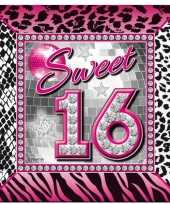 40x sweet 16 themafeest servetten 25 x 25 cm papier trend
