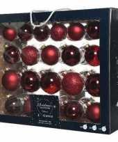42x donkerrode glazen kerstballen 5 6 7 cm mat glans glitter trend