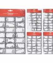 42x kerst cadeau naamstickers etiketten zilver trend
