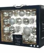 42x zilveren glazen kerstballen 5 6 7 cm mat glans glitter trend
