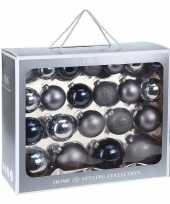 44x blauwe glazen kerstballen 6 7 8 10 cm mat glans trend