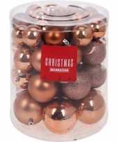 44x koper kleur kerstballen 5 6 7 8 cm mat glans glitter trend