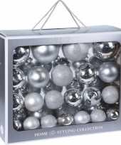 44x zilveren glazen kerstballen 6 7 8 10 cm mat glans trend