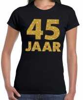 45 jaar goud glitter verjaardag jubileum kado shirt zwart dames trend