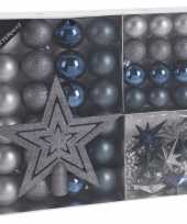 45x blauw grijs tinten kerstballen 4 5 8 cm kunststof trend