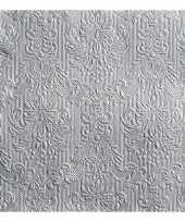 45x stuks luxe servetten barok patroon zilver 3 laags trend