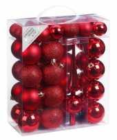 47x rode kunststof kerstballen 4 6 cm mat glans met piek trend
