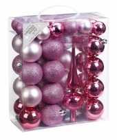 47x roze mix kunststof kerstballen 4 6 cm mat glans met piek trend
