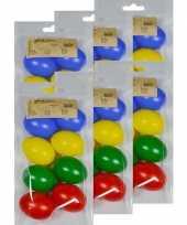 48x gekleurde kunststof eieren decoratie 6 cm hobby trend