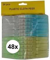 48x kunststof gekleurde wasknijpers 8 cm trend