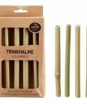 4x bamboe rietjes herbruikbaar 16 cm trend