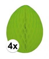 4x decoratie paasei groen 20 cm trend
