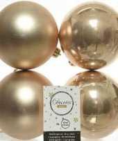 4x donker parel champagne kerstballen 10 cm kunststof mat glans trend