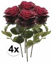 4x donker rode rozen simone kunstbloemen 45 cm trend