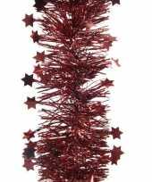 4x donkerrode sterren kerstslingers 10 x 270 cm kerstboom trend