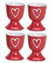 4x eierdopjes rood met hartje 6 x 5 cm trend