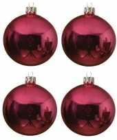 4x fuchsia roze glazen kerstballen 10 cm glans trend