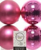 4x fuchsia roze kerstballen 10 cm kunststof mat glans trend