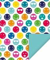 4x geschenkpapier gekleurde smileys thema 70 x 200 cm trend