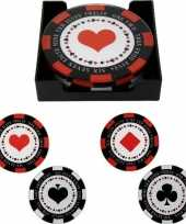 4x glazen poker fiches glasonderzetters 10 cm trend