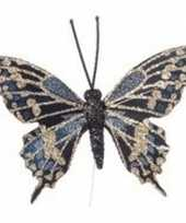 4x goud blauwe vlinder steker decoratie 6 cm trend