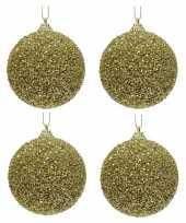 4x gouden glitter kralen kerstballen 8 cm kunststof trend