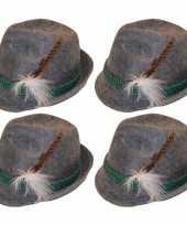 4x grijze tiroler hoedjes verkleedaccessoires voor volwassenen trend