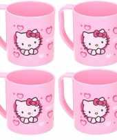 4x hello kitty disney mokken onbreekbare drinkbekers lichtroze trend