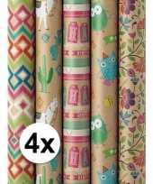 4x inpakpapier bruin birthday print 200 x 70 cm op rol trend