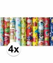 4x inpakpapier kinder verjaardag dieren in auto 200x70 cm op rol trend