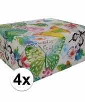 4x inpakpapier met bloemen motief 200 x 70 cm op rol type 8 trend