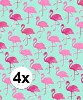 4x inpakpapier met flamingo motief 200 x 70 cm op rol type 2 trend