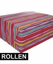 4x inpakpapier met kleurig design 200 x 70 cm op rol type 4 trend