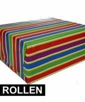 4x inpakpapier met strepen 200 x 70 cm op rol type 1 trend
