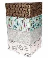 4x inpakpapier rollen voordeelpakket met verschillende prints trend