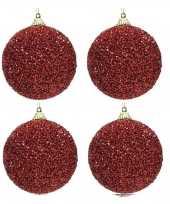4x kerst rode glitter kralen kerstballen 8 cm kunststof trend