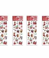 4x kerst stickervellen met 25 huisdieren stickers trend