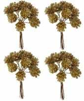 4x kerststukje instekers bosje van 12 gouden dennenappels op draad trend