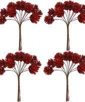 4x kerststukje instekers bosje van 12 rode dennenappels op draad trend