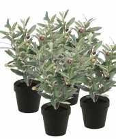 4x kunstplanten olijfboompje groen in zwarte pot 35 cm trend