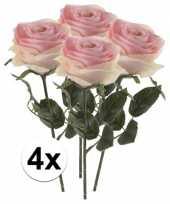 4x licht roze rozen simone kunstbloemen 45 cm trend