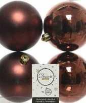 4x mahonie bruine kerstballen 10 cm kunststof mat glans trend