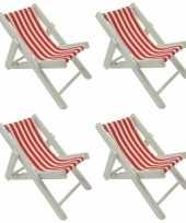 4x maritieme decoratie strandstoel rood 13 cm trend
