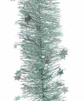 4x mintgroene sterren kerstslingers 10 x 270 cm kerstboom trend