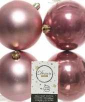 4x oud roze kerstballen 10 cm kunststof mat glans trend