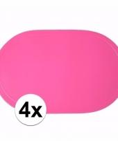 4x ovale placemats fuchsia roze 43 x 28 cm trend