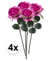 4x paars roze rozen simone kunstbloemen 45 cm trend