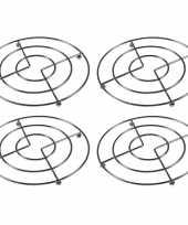 4x pannen onderzetters chroom 17 cm trend