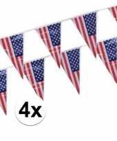 4x plastic amerikaanse vlaggetjes slingers trend
